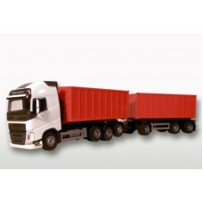 Volvo Fh04 With Red Roll Off Containers - White 1:25 Scale