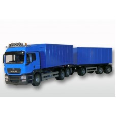 Man Tgs Euro 5 With Roll Off Containers - Blue 1:25 Scale