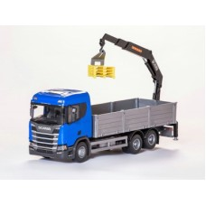 Scania Cr 500 Ng Open Platform With Crane - Blue 1:25 Scale