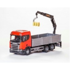 Scania Cr 500 Ng Open Platform With Crane - Red 1:25 Scale
