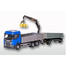 Scania Cr 500 Ng Open Platform With Crane & Trailer - Blue 1:25 Scale