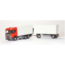 Scania Cs20H 6X4 Rigid Box With Box Trailer - Red 1:25 Scale