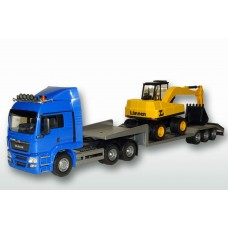 MAN TGS 6x4 Blue Cab Low Loader and Excavator
